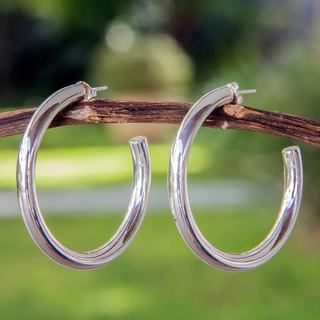Handcrafted Sterling Silver 'Halo' Half Hoop Earrings (Mexico)
