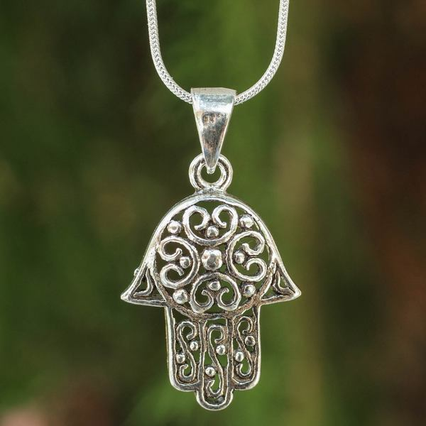 Handmade Sterling Silver 'Thai Hamsa' Necklace (Thailand)