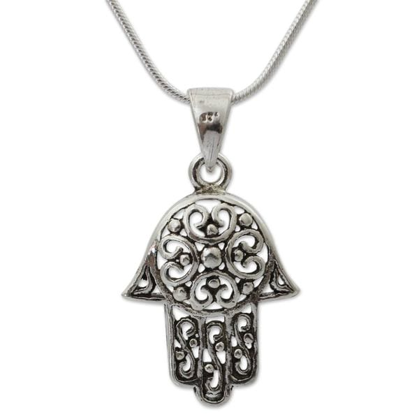Handmade Sterling Silver 'Thai Hamsa' Necklace (Thailand)