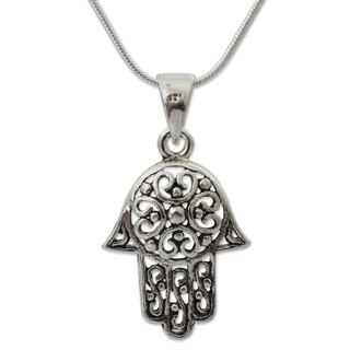 Handcrafted Sterling Silver 'Thai Hamsa' Necklace (Thailand)