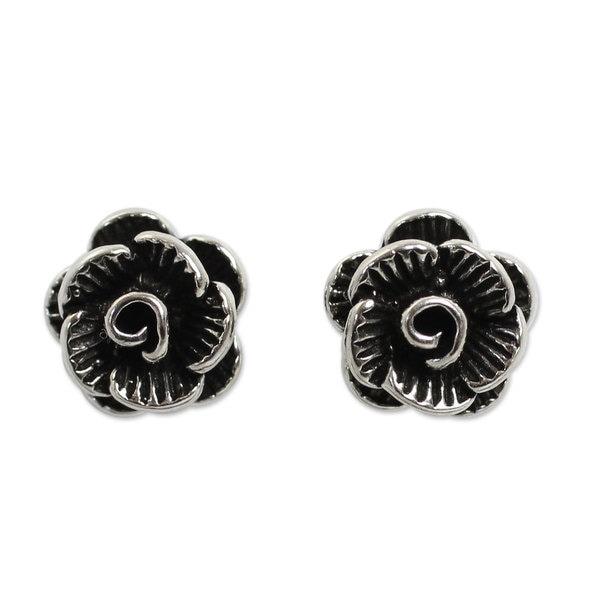 88c84ad3f Shop Handmade Sterling Silver 'Thai Peony' Earrings (Thailand) - On ...
