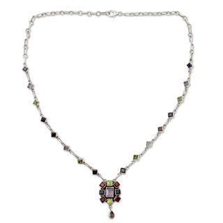 Handmade Sterling Silver 'Tropical Celebration' Multi-gemstone Necklace (India)