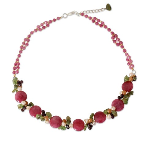 Handmade Pearl 'Peony Romance' Multi-gemstone Necklace (4.5-5 mm) (Thailand)