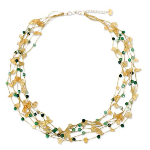 "Handmade Citrine Agate 'Afternoon Sun' Necklace (Thailand) - 21.25"" L x 0.8"" W"