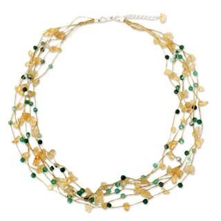 Handmade Citrine Agate 'Afternoon Sun' Necklace (Thailand)