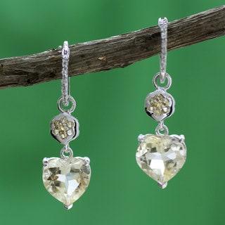 Handmade Sterling Silver 'Light of Love' Citrine Topaz Earrings (India)
