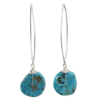 Handcrafted Sterling Silver 'Sublime' Turquoise Earrings (Thailand)
