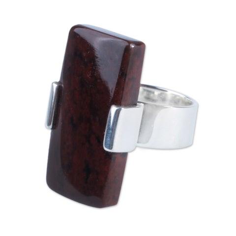 Handmade Sterling Silver 'Brown Hug' Mahogany Obsidian Ring (Peru)