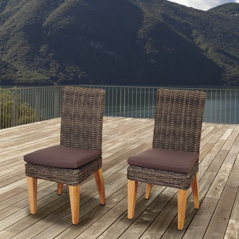Amazonia Teak Sinclair Wicker/Teak Patio Chair Set with Brown Cushions (Set of 2)