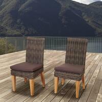Amazonia Teak Sinclair Wicker/Teak Patio Chair Set with Brown Cushions (Set of 2)