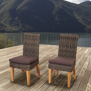 Amazonia Teak Sinclair Wicker/Teak Patio Chair Set With Brown Cushions (Set  Of 2