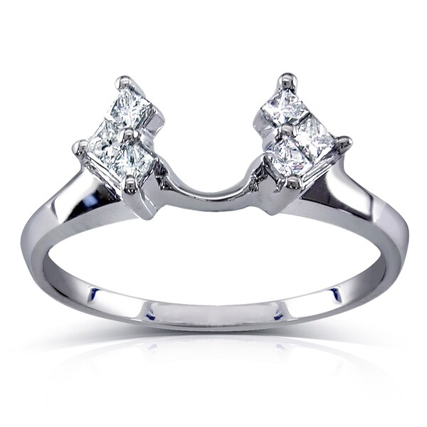Annello by Kobelli 14k White Gold 1/4ct TDW Princess Diamond Wedding Band Ring Guard Wrap