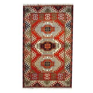 Herat Oriental Indo Hand-knotted Tribal Kazak Rust/ Beige Wool Rug (3'1 x 4'10)
