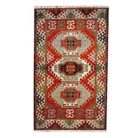 Herat Oriental Indo Hand-knotted Tribal Kazak Wool Rug - 3'1 x 4'10