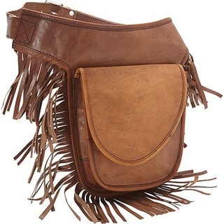 SHARO Hand-crafted Leather Fringed Adjustable Hip Belt Bag