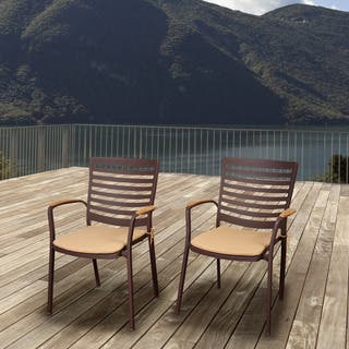 Amazonia Teak Clemson Cast Aluminum/Teak Patio Dining Armchair Set with Tan Cushions (Set of 4) https://ak1.ostkcdn.com/images/products/10056084/P17200863.jpg?impolicy=medium