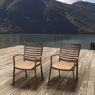 Amazonia Teak Clemson Cast Aluminum/Teak Patio Dining Armchair Set with Tan Cushions (Set of 4)