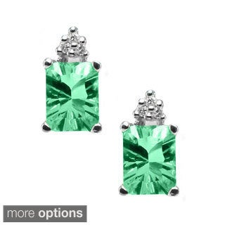 Michael Valitutti 14k White Gold Diamond Earrings Choice of Green Amethyst, Citrine.