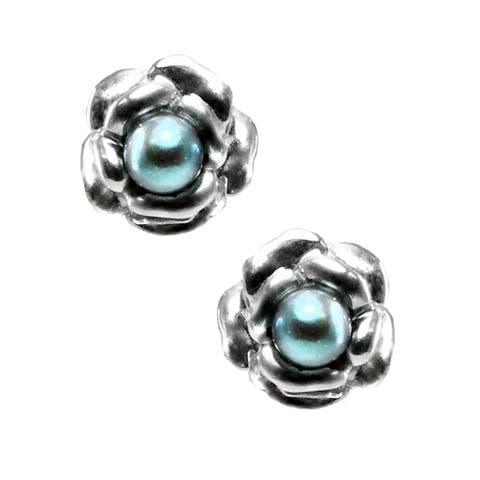 Michael Valitutti 10k Gold Freshwater Black Pearl Rose Earrings (3.5 mm)