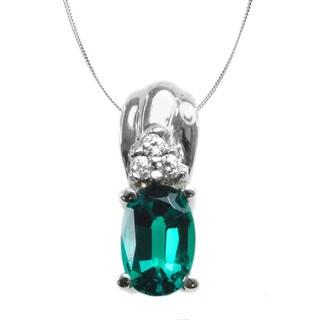 Michael Valitutti 14k White Gold Emerald Diamond Accent Necklace