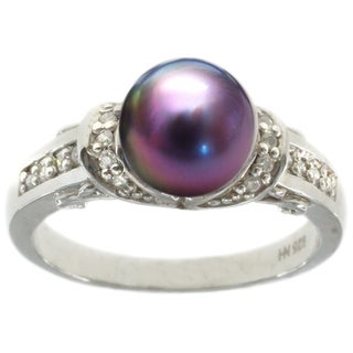 Michael Valitutti 14k Two-tone Gold Freshwater Black Pearl Diamond Accent Ring (6-7 mm)