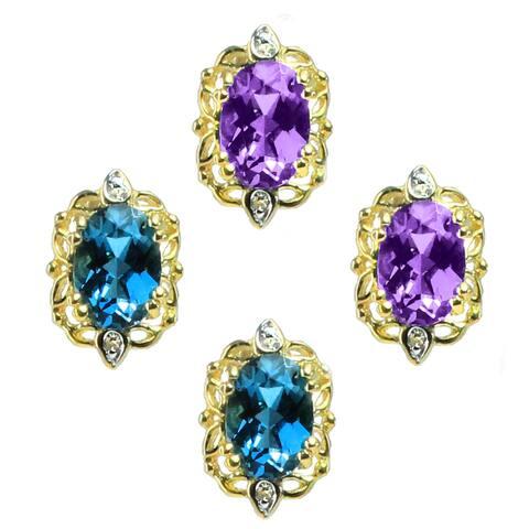 Gems en Vogue 14k Gold Oval Gemstone Diamond Accent Earrings