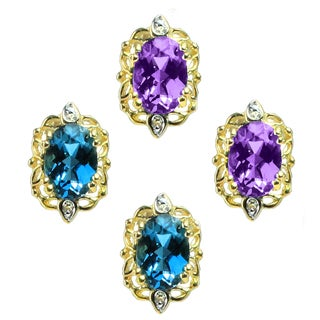 Michael Valitutti 14k Gold Oval Gemstone Diamond Accent Earrings