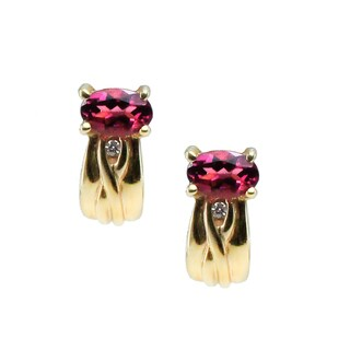 Michael Valitutti 14k Gold Pink Tourmaline and Diamond Stud Earrings