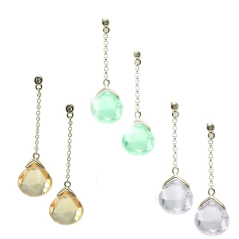 Gems en Vogue 14k Yellow Gold Teardrop Gemstone Gemstone Diamond Accent Earrings