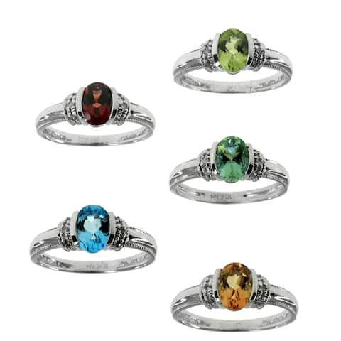 Michael Valitutti 14k White Gold Oval Gemstone Diamond Accent Ring