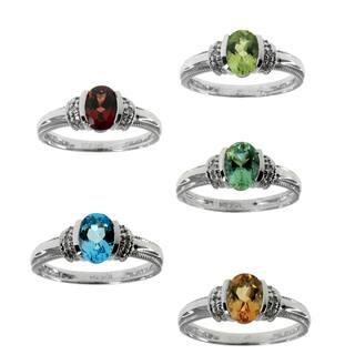 Michael Valitutti 14k White Gold Oval Gemstone Diamond Accent Ring https://ak1.ostkcdn.com/images/products/10056104/P17200853.jpg?impolicy=medium
