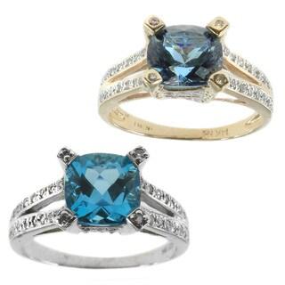Michael Valitutti 14k Gold Created Zandrite 1/4ct TDW Diamond Ring (I-J, I1-I2)