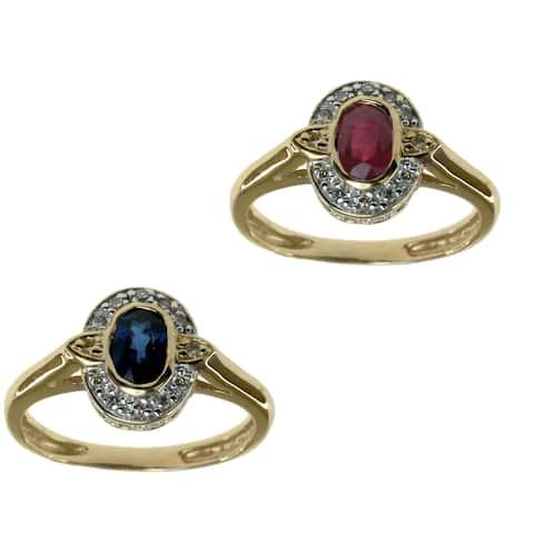 Michael Valitutti 14k Yellow Gold Created Gemstone Diamond Accent Ring