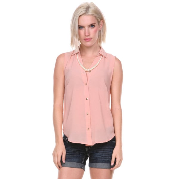 Stanzino women 39 s studded sleeveless button down shirt for Sleeveless shirts for ladies