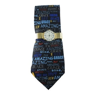 Men's Watch and Tie Gift Set Goldtone Stretch Band Watch and Steven Harris 'Amazing Grace' Christian Necktie Gift Set