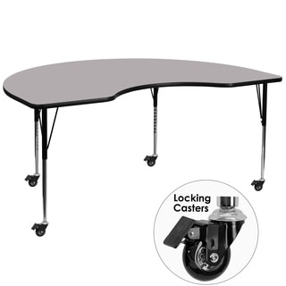 22.25-30.37-Inch Height-adjustable Laminate Mobile Kidney-shaped Activity Table