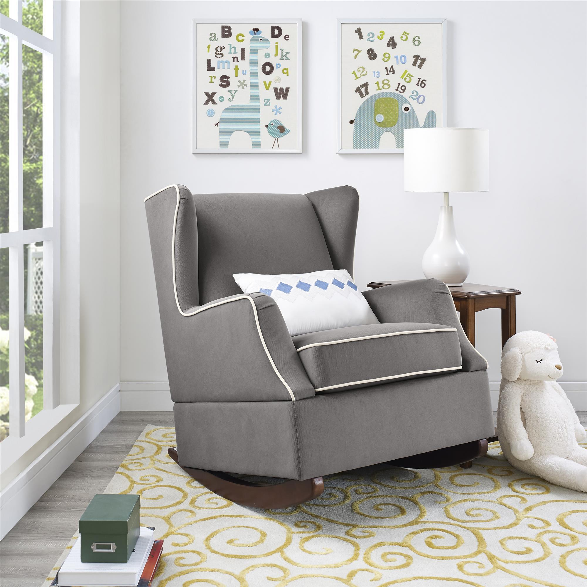 Genial Baby Relax Hudson Graphite Grey Wingback Rocker Chair