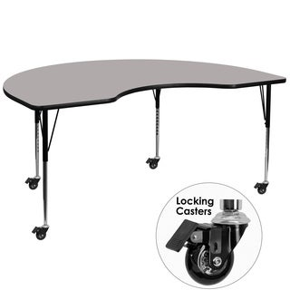22.37-30.5-Inch Height-adjustable Steel Mobile Kidney-shaped Activity Table