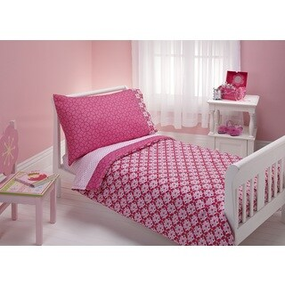 NoJo Kaleidoscope Pink 4-piece Toddler Bedding Set