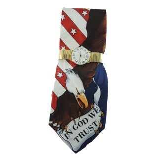 Men's Watch and Tie Set Gold Stainless Steel Watch with 'In God We Trust' American Flag and Eagle Necktie