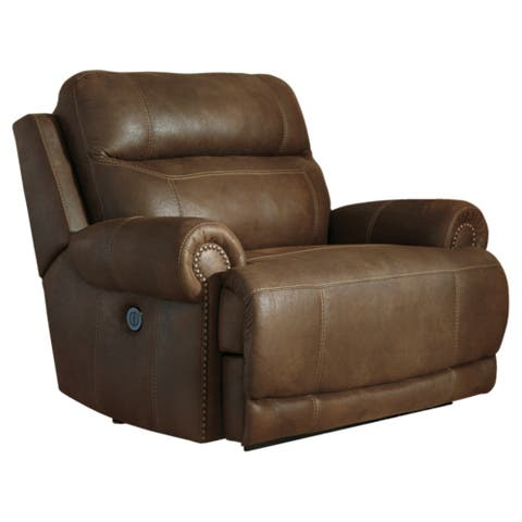 Austere Contemporary Zero Wall Power Wide Recliner Brown