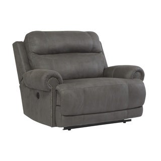 Signature Design by Ashley Austere Grey Zero Wall Power Wide Recliner