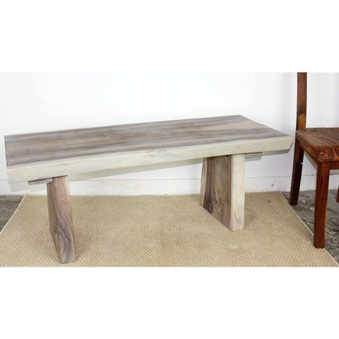 Haussmann Handmade Wood Natural Edge Bench 48 in x 17-20 x 18 in H KD Agate Grey Oil