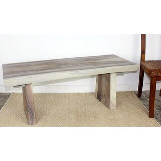 Natural Edge Bench 48 in x 17-20 x 18 in H KD Agate Grey Oil (Thailand)