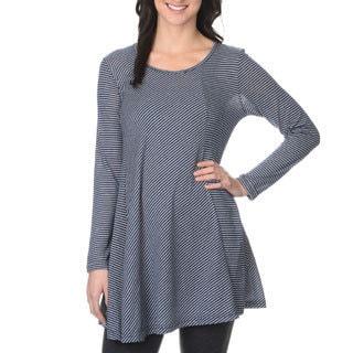 La Cera Women's Asymmetrical Stripe Tunic