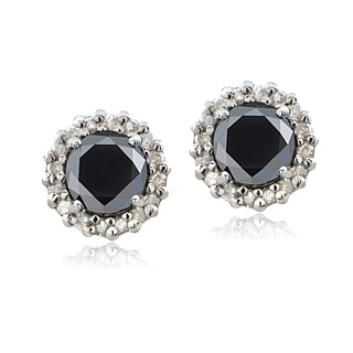 DB Designs Sterling Silver 1ct TDW Black and White Diamond Halo Earrings
