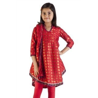 MB Girl's Indian Kurta Red and Gold Tunic with Churidar and Dupatta (India)