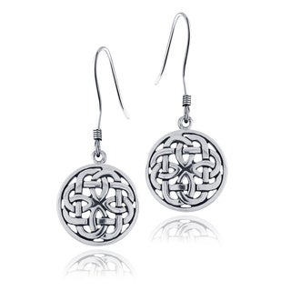 Mondevio Sterling Silver Celtic Knot Round Dangle Earrings
