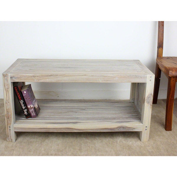 Teak Oil Coffee Table: [Handmade] Agate Grey Oil Teak Slat Coffee Table With