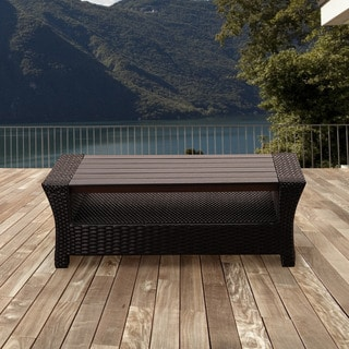Havenside Home Popham Black Synthetic Wicker Rectangular Coffee Table with Plastic Wood Top